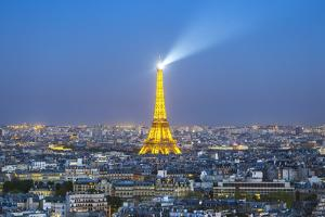 Elevated View of City with the Eiffel Tower in the Distance, Paris, France, Europe by Gavin Hellier