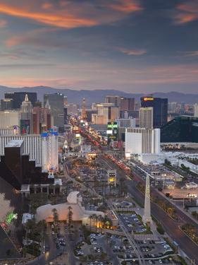Elevated View of the Hotels and Casinos Along the Strip at Dusk, Las Vegas, Nevada, USA by Gavin Hellier