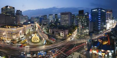 Elevated View Over Fountain Square, the Bank of Korea, Financial District, Seoul, South Korea by Gavin Hellier