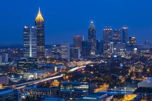 Elevated View over Interstate 85 Passing the Atlanta Skyline by Gavin Hellier