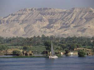 Felucca on the River Nile, Looking Towards Valley of the Kings, Luxor, Thebes, Egypt by Gavin Hellier