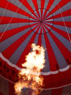 Hot Air Balloon Being Inflated For Take-Off, Near Goreme, Cappadocia, Anatolia, Turkey by Gavin Hellier