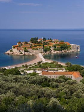 Island of Sveti Stefan and Adriatic Sea, Budva Riviera, Montenegro by Gavin Hellier