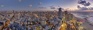 Israel, Tel Aviv, Elevated Dusk View of Beachfront Hotel by Gavin Hellier