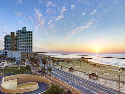 Israel, Tel Aviv, Elevated Dusk View of the City Beachfront