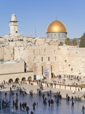 Jewish Quarter of Western Wall Plaza and Dome of Rock, UNESCO World Heritage Site, Jerusalem Israel by Gavin Hellier