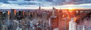Manhattan View Towards Empire State Building at Sunset from Top of the Rock, at Rockefeller Plaza,  by Gavin Hellier