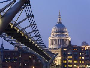 Millennium Bridge and St. Pauls Cathedral, Illuminated at Dusk, London, England, United Kingdom by Gavin Hellier