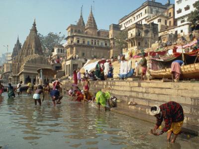 Morning Religious Festival, River Ganges, Varanasi, Uttar Pradesh State, India by Gavin Hellier