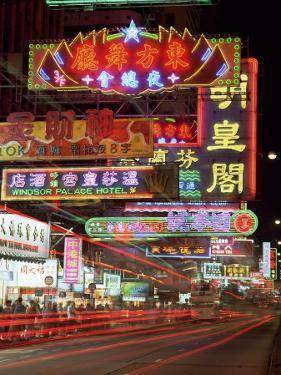 Neon Lights at Night on Nathan Road, Tsim Sha Tsui, Kowloon, Hong Kong, China, Asia by Gavin Hellier