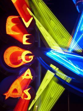 Neon Vegas Sign at Night, Downtown, Freemont East Area, Las Vegas, Nevada, USA, North America by Gavin Hellier