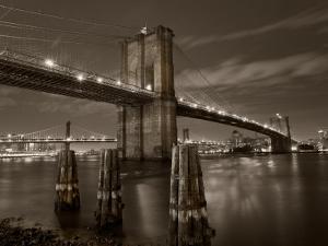 New York City, Manhattan, the Brooklyn and Manhattan Bridges Spanning the East River, USA by Gavin Hellier
