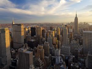 New York City, Manhattan, View of Downtown and Empire State Building from Rockerfeller Centre, USA by Gavin Hellier