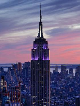 New York City, Manhattan, View Towards Downtown; Empire State Building from Rockerfeller Centre, US by Gavin Hellier