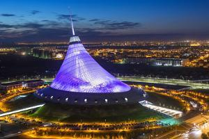 Night View over Khan Shatyr Entertainment Center, Astana, Kazakhstan, Central Asia by Gavin Hellier