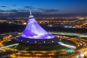 Night View over Khan Shatyr Entertainment Center, Astana, Kazakhstan, Central Asia by Gavin Hellier