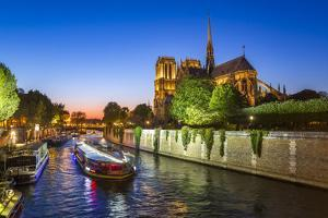 Notre Dame Cathedral and the River Seine, Paris, France, Europe by Gavin Hellier