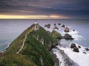Nugget Point Lighthouse on the Coast and Overcast Sky, the Catlins, South Island, New Zealand by Gavin Hellier