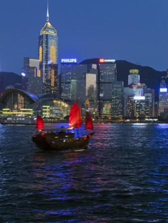 One of Last Remaining Chinese Sailing Junks, Victoria Harbour from Kowloon, Hong Kong, China, Asia by Gavin Hellier