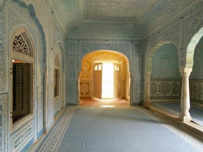 Ornate Passageway to Open Door, Samode Palace, Jaipur, Rajasthan State, India by Gavin Hellier