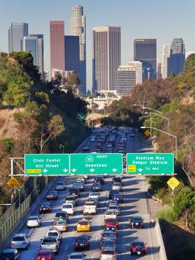 Pasadena Freeway (CA Highway 110) Leading to Downtown Los Angeles, California, USA by Gavin Hellier