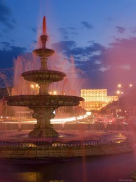 Piata Unirii Fountain and Palace of Parliament, Bucharest, Piata Unirii, Romania by Gavin Hellier