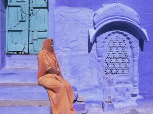 Portrait of a Local Woman in the 'Blue City', Jodhpur, Rajasthan State, India, Asia by Gavin Hellier