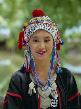 Portrait of an Akha Hill Tribe Woman in Traditional Clothing, Mae Hong Son Province by Gavin Hellier