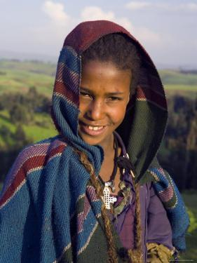 Portrait of Local Girl, Unesco World Heritage Site, Simien Mountains National Park, Ethiopia by Gavin Hellier