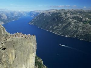Preikestolen Rock Overlooking Lysefjord, Near Stavanger, South West Fjords, Norway by Gavin Hellier
