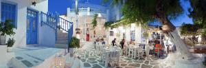 Restaurants in the Old Town, Mykonos (Hora), Cyclades Islands, Greece, Europe by Gavin Hellier