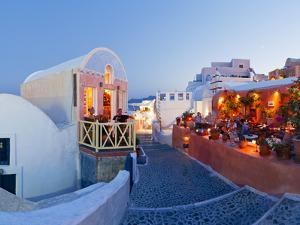 Restaurants in the Village of Oia, Santorini, Cyclades Islands, Aegean Sea, Greece, Europe by Gavin Hellier
