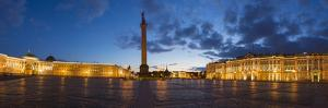 Russia, Saint Petersburg, Palace Square, Alexander Column and the Hermitage, Winter Palace by Gavin Hellier