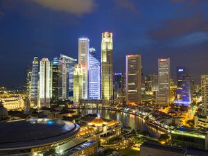 Skyline and Financial District at Dusk, Singapore, Southeast Asia, Asia by Gavin Hellier