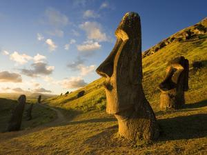 South America, Chile, Rapa Nui, Easter Island, Giant Monolithic Stone Maoi Statues at Rano Raraku by Gavin Hellier
