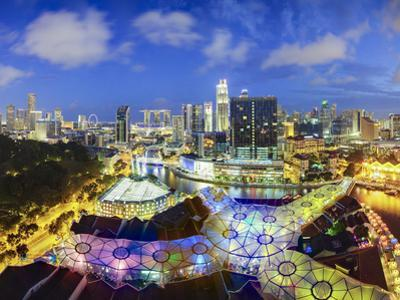 South East Asia, Singapore, View Over Entertainment District of Clarke Quay by Gavin Hellier