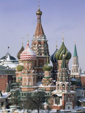 St. Basil's Christian Cathedral in Winter Snow, Moscow, Russia by Gavin Hellier