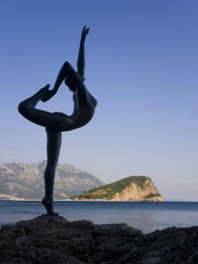 Statue Sillhouetted Against St. Nikola Island, Budva, Montenegro, Balkans, Europe by Gavin Hellier