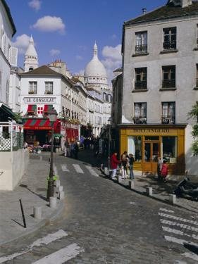 Street Scene and the Dome of the Basilica of Sacre Coeur, Montmartre, Paris, France, Europe by Gavin Hellier