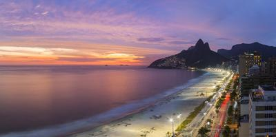 Sunset over Ipanema Beach and Dois Irmaos (Two Brothers) mountain, Rio de Janeiro, Brazil, South Am by Gavin Hellier