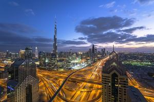 The Burj Khalifa Dubai, View across Sheikh Zayed Road and Financial Centre Road Interchange by Gavin Hellier