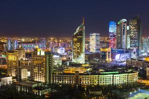The City Center and Central Business District at Night, Astana, Kazakhstan, Central Asia by Gavin Hellier
