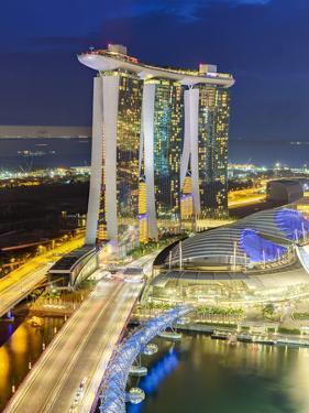 The Helix Bridge and Marina Bay Sands Singapore at Night, Marina Bay, Singapore, Southeast Asia by Gavin Hellier