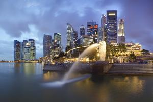The Merlion Statue with the City Skyline in the Background by Gavin Hellier