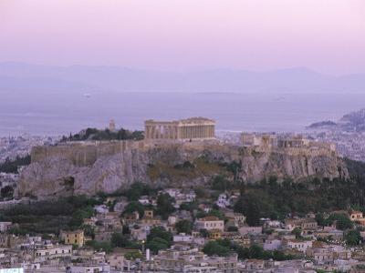 The Parthenon and Acropolis from Lykavitos, Unesco World Heritage Site, Athens, Greece, Europe