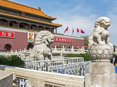 Tiananmen Sqaure in Front of Portrait of Mao Zedong on Gate of Heavenly Peace (Tiananmen Gate) by Gavin Hellier