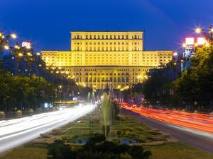 Unirii Street Looking Towards the Palace of Parliament or House of the People, Bucharest, Romania by Gavin Hellier