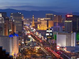 United States of America, Nevada, Las Vegas, Elevated Dusk View of the Hotels and Casinos Along the by Gavin Hellier
