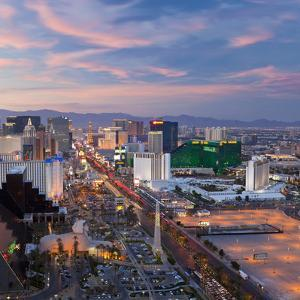 USA, Nevada, Las Vegas, Elevated Dusk View of the Hotels and Casinos Along the Strip by Gavin Hellier
