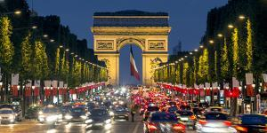 View Down the Champs Elysees to the Arc De Triomphe, Illuminated at Dusk, Paris, France by Gavin Hellier